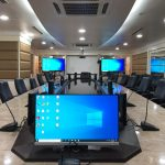 Implementation and integration of video conference solution using ClearOne DSP with Bosch CCS discussion system in Bangunan Pertahanan Kuala Lumpur. The conference room is now equipped with two large screen displays, monitors and sound system for online meeting and in-room presentation.